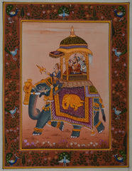 SUN116-eCraftIndia-King-on-Elephant-Original-Art-Silk-Painting_1