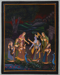 SUN119-eCraftIndia-Radha-Krishna-entertained-by-Gopis-Original-Art-Silk-Painting_1