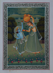 SUN153-eCraftIndia-Bal-Krishna-Teasing-Gopi-for-Makhan-Original-Art-Silk-Painting_1