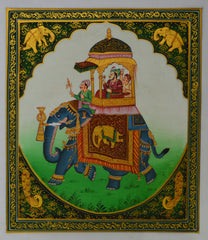 SUN158-eCraftIndia-Royal-King-on-Elephant-Original-Art-Silk-Painting_1