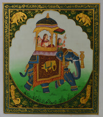 SUN159-eCraftIndia-Queen-on-Elephant-Original-Art-Silk-Painting_1