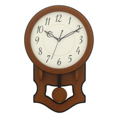WCW7167_BROWN-eCraftIndia-Round-Brown-Wooden-Pendulum-Wall-Clock_1