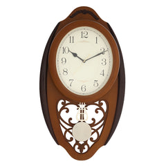 WCW8167_BROWN-eCraftIndia-Brown-Oval-Pendulum-Wooden-Wall-Clock_1