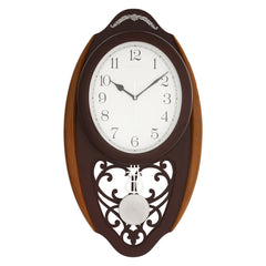 WCW8167_ROSEWOOD-eCraftIndia-Brown-Oval-Pendulum-Wooden-Wall-Clock_1