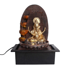 "WF1055_GD_BR-eCraftIndia-Golden-Brown-Ganesha-5-Step-Polyresin-Water-Fountain-With-Led-Lights-(12""-x-14""-Inch-