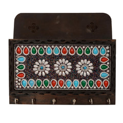 eCraftIndia Colorful Stone Studded Wooden Key Holder(6 Hooks)