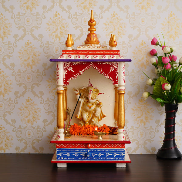 ecraftindia-white,-red-and-golden-mango-wood-pooja-temple/mandir-with-storage-option_1