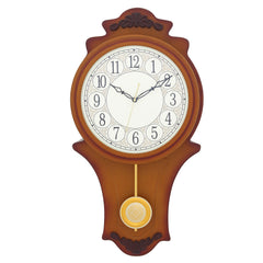 "WWCCW7137_BR_F-eCraftIndia-White-Round-Dial-Wooden-Brown-Pendulum-Wall-Clock-(11""-x-21""-Inch-