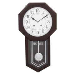 "WWCCW9101_RW_F-eCraftIndia-White-Dial-Octangle-Brown-Wooden-Pendulum-Wall-Clock-(12.5""-x-22.5""-Inch-