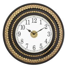 "WWCCWACM1609_F-eCraftIndia--Round-Antique-Finish-Golden,-Black-Handmade-Analog-Wooden-Wall-Clock-(16""-x-16""-Inch-