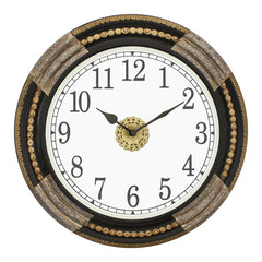 "WWCCWACM1614_F-eCraftIndia-Round-Antique-Finish-Black,-Silver-Handmade-Analog-Wooden-Wall-Clock-(16""-x-16""-Inch-