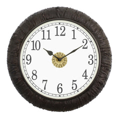 "WWCCWACM1615_F-eCraftIndia-Round-Antique-Finish-Black-Handmade-Analog-Wooden-Wall-Clock-(16""-x-16""-Inch-