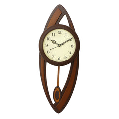 WWCK5127_CHOCOLATE-eCraftIndia-Dark-Brown-Oval-Wooden-Wall-Clock_1