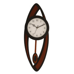 "WWCKC5127_BLK-eCraftIndia-Black-&-Brown-Designer-Wooden-Vertical-Analog-Pendulum-Wall-Clock-(9""-x-24.5""-Inch-