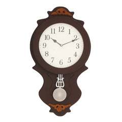 "WWCKC5137_ROSE_WOOD-eCraftIndia-Brown-Wooden-Designer-Vertical-Analog-Pendulum-Wall-Clock-(14""-x-25.5""-Inch-