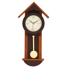 "WWCKC6171_CH-eCraftIndia-Black-Wooden-Designer-Hut--Shaped-Analog-Pendulum-Wall-Clock-(8""-x-17""-Inch-