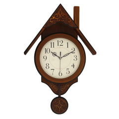 "WWCKC7187_BR-eCraftIndia-Brown-Wooden-Hut--Shaped-Vertical-Analog-Pendulum-Wall-Clock-(12""-x-18.5""-Inch-
