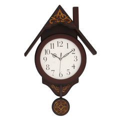 "WWCKC7187_ROSE_WOOD-eCraftIndia-Brown-Wooden-Hut--Shaped-Vertical-Analog-Pendulum-Wall-Clock-(12""-x-18.5""-Inch-