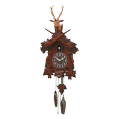 "WWCKC9107_BR-eCraftIndia-Brown-Wooden-Designer-Hut--Shaped-Cuckoo-Pendulum-Wall-Clock-(13""-x-37""-Inch-