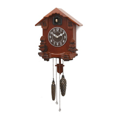 "WWCKC9127_BR-eCraftIndia-Brown-Wooden-Designer-Hut--Shaped-Cuckoo-Pendulum-Wall-Clock-(12""-x-29""-Inch-