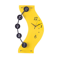 ecraftindia-premium-decorative-analog-yellow-and-black-round-wooden-wall-clock_1