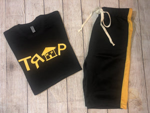 ***TRAP BLACK TEE *** (various logo color options)