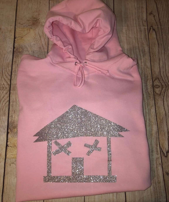 Big Trap House Hoodie (Pink/ Silver Glitter)