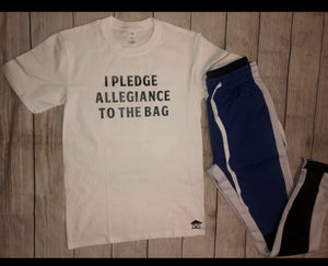 ***I PLEDGE ALLEGIANCE TO THE BAG WHITE TEE *** (various logo color options)