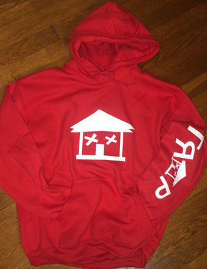 RED TRAP HOUSE HOODIE  (1 SLEEVE)