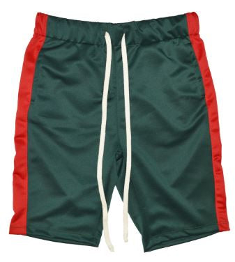 GREEN/ RED - UNISEX TRACK SHORTS