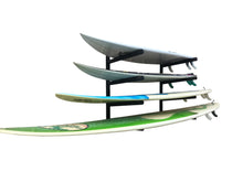 Load image into Gallery viewer, Wall mounted surfboard racks powder coated black to hold 4 surfboards or mal