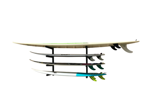 Wall mounted surfboard racks powder coated black to hold 4 surfboards or mal