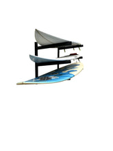 Load image into Gallery viewer, Wall mounted surfboard racks powder coated black to hold 3 surfboards or mal
