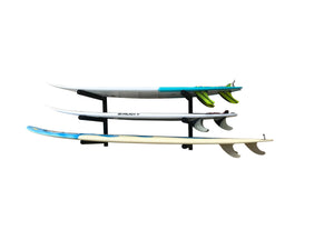 Wall mounted surfboard racks powder coated black to hold 3 surfboards or mal