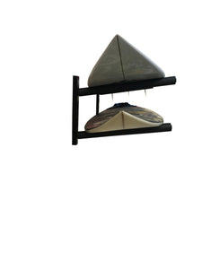 Wall mounted surfboard racks powder coated black to hold 2 surfboards or mal