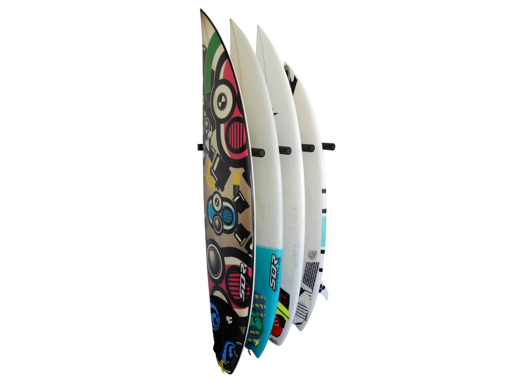 Wall mounted vertical surfboard racks powder coated black to hold 4 boards