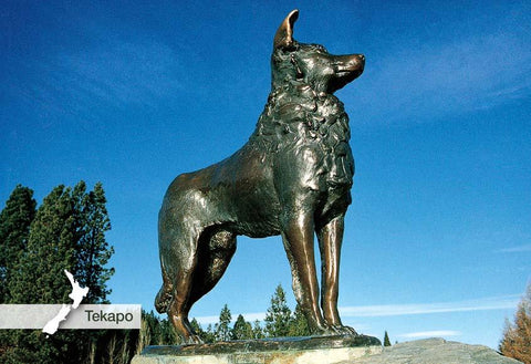 SMC356 - Bronze Dog Monument, Tekapo - Small Postcard