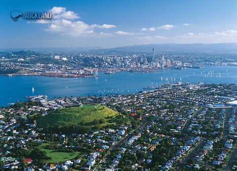 LAU007 - Auckland City & Skytower - Large Postcard