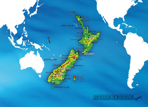 LGI084 - New Zealand Map - Large Postcard - Postcards NZ Ltd