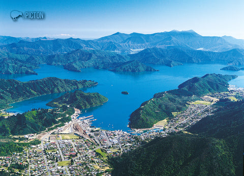 LMB093 - Picton, Aerial - Large Postcard - Postcards NZ Ltd