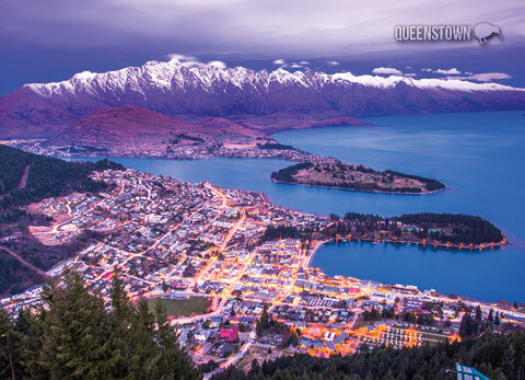LQT128 - Queenstown, Night View - Large Postcard - Postcards NZ Ltd