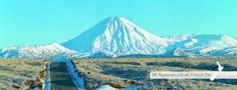 MPMW128 - Mt Ngauruhoe from Desert Rd - Panoramic Magnet - Postcards NZ Ltd