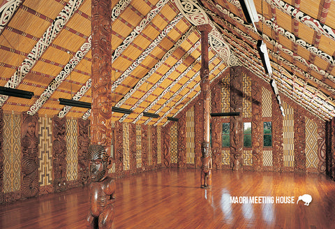 SBI151 - Maori Meeting House - Interior - Small Postcard - Postcards NZ Ltd