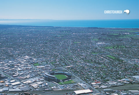 SCA302 - Christchurch Aerial, Jade Stadium - Small Postcard - Postcards NZ Ltd