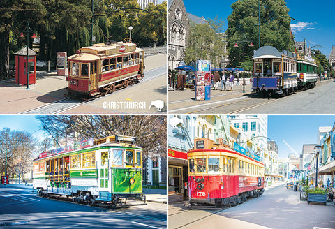 SCA327 - Tram Multi, Christchurch - Small Postcard - Postcards NZ Ltd