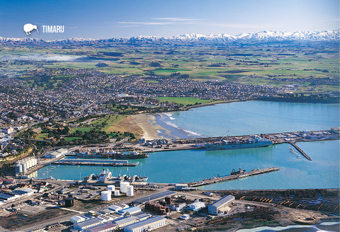 SCA414 - Aerial Timaru - Small Postcard - Postcards NZ Ltd
