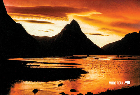 SFI55 - Mitre Peak At Dusk - Small Postcard - Postcards NZ Ltd
