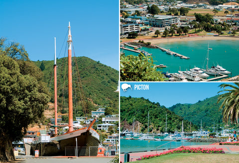 SMB664 - Picton - Small Postcard - Postcards NZ Ltd