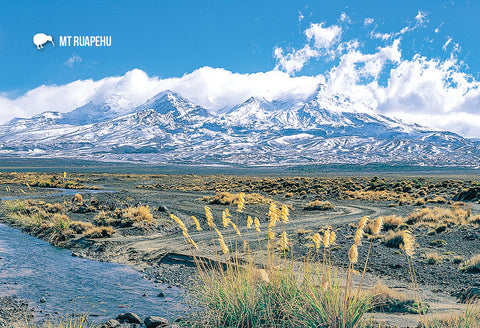 SMW926 - Mt Ruapehu - Snow Clad From Desert Rd - Small Post