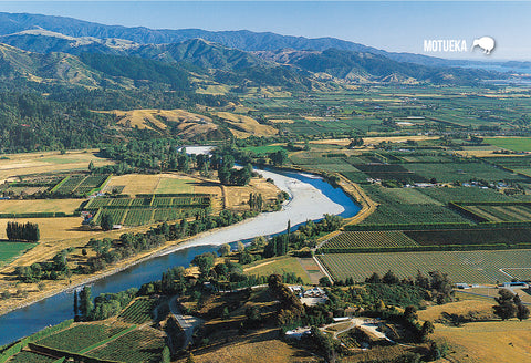 SNE725 - Aerial View Of Moteuka River - Small Postcard - Postcards NZ Ltd